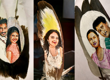Surprise Your Love With Portrait On Feathers!
